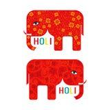 Cartaz feliz abstrato de Holi com os dois elefantes vermelhos Projeto para o festival indiano das cores Fotografia de Stock