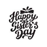 Cartaz feliz da rotulação do dia das irmãs Imagens de Stock Royalty Free