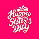 Cartaz feliz da rotulação do dia das irmãs Foto de Stock Royalty Free