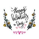 Cartaz feliz da tipografia do dia de Valentim com ramo escrito à mão do texto da caligrafia das flores, no fundo branco Vetor mim Fotografia de Stock
