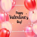 Cartaz feliz da tipografia do dia de Valentim com texto escrito à mão da caligrafia ilustração royalty free