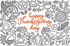 Cartaz feliz do dia da ação de graças com os cumprimentos que rotulam e a ilustração da garatuja do jantar da celebração, peru, o Fotografia de Stock Royalty Free