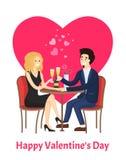 Cartaz feliz do dia de Valentim que data pares na tabela ilustração royalty free