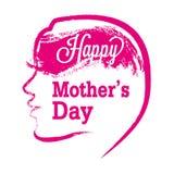 Cartaz feliz do dia do ` s da mãe com a silhueta da mulher Imagem de Stock Royalty Free