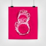 Cartaz feliz do dia do ` s da mãe Oito com flores e texto Imagem de Stock