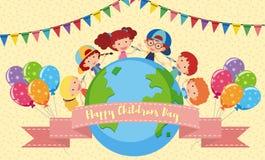 Cartaz feliz do dia do ` s das crianças com crianças e balões Imagem de Stock Royalty Free