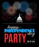 Cartaz feliz do partido do Dia da Independência Imagem de Stock Royalty Free