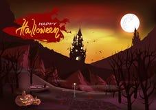 Cartaz feliz do vintage do dia do Dia das Bruxas, cartão, convite, gato no caixão no cemitério, castelo na floresta de madeira es ilustração stock