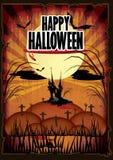Cartaz feliz dos desenhos animados do Dia das Bruxas ilustração do vetor