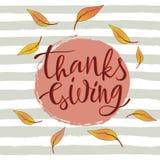Cartaz feliz tirado mão da tipografia da rotulação da ação de graças Fotografia de Stock