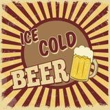 Cartaz gelado da cerveja Fotografia de Stock