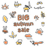 Cartaz grande da venda do outono Animais e plantas do vetor Fotos de Stock