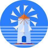 Cartaz grego do turista do moinho de vento da ilha para seu projeto ou logotipo ilustração royalty free