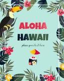 Cartaz havaiano tropical com tucano Molde do partido Convite, bandeira, cartão ilustração stock