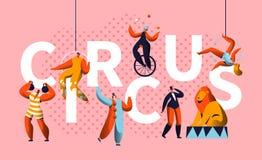 Cartaz horizontal da tipografia do caráter da mostra do carnaval do circo Juggler Entertainment do mágico e do Unicycle ilustração do vetor