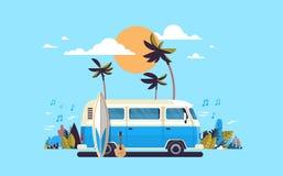 Cartaz horizontal surfando retro do molde do cartão da melodia do vintage da praia tropical do por do sol do ônibus da ressaca da ilustração do vetor