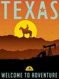 Cartaz ilustrado retro do curso para Texas ilustração do vetor