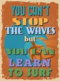 Cartaz inspirador das citações do vintage retro Ilustração do vetor Fotografia de Stock Royalty Free