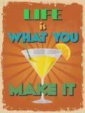 Cartaz inspirador das citações do vintage retro Ilustração do vetor Fotos de Stock