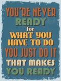 Cartaz inspirador das citações do vintage retro Ilustração do vetor Fotografia de Stock