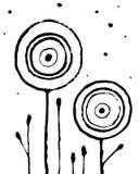 Cartaz interior abstrato na moda Flores tiradas m?o no fundo branco Estilo sujo do Grunge ilustração do vetor