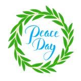Cartaz internacional do dia da paz Ramo de oliveira, símbolo da paz e esperança, no texto da rotulação do círculo e da mão typogr Foto de Stock Royalty Free