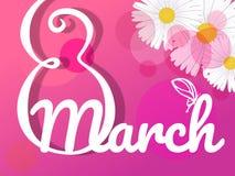 Cartaz internacional do dia do ` s das mulheres 8 ilustração do número 3d Dia feliz do `s da matriz ilustração do vetor
