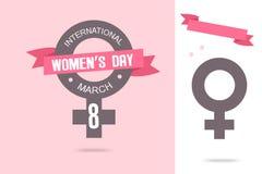 Cartaz internacional do dia do ` s das mulheres Sinal da mulher Molde do projeto do origâmi Dia feliz do `s da matriz Imagens de Stock