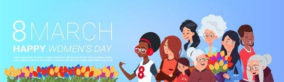 Cartaz internacional feliz do dia das mulheres com grupo de senhoras que guardam flores e a bandeira horizontal dos presentes ilustração royalty free