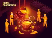 Cartaz isométrico da indústria de aço ilustração do vetor