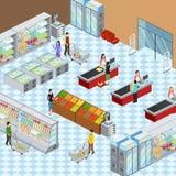 Cartaz isométrico interior da composição do supermercado moderno Imagens de Stock