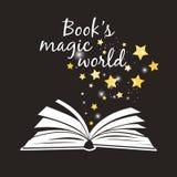 Cartaz mágico do mundo dos livros Abra o livro com white pages e vetor mágico dourado dos asteriscos ilustração do vetor