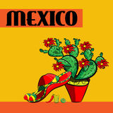 Cartaz México, sombreiro, pimentas de pimentão picantes, maracas, cacto e cal Imagens de Stock Royalty Free