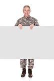 Cartaz maduro de Showing On Blank do soldado imagens de stock royalty free