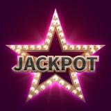 Cartaz mega do bônus do casino do vintage com a estrela iluminada retro Fundo do vetor de Showtime e de jackpot ilustração do vetor