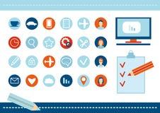 Cartaz moderno da ilustração do projeto liso do Web site de SEO Foto de Stock