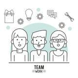 Cartaz monocromático do trabalho da equipe com meio grupo do corpo de homem e duas mulheres e ferramentas do ícone na parte super ilustração royalty free