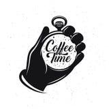 Cartaz monocromático criativo relacionado do café Relógio de bolso com frase Tempo do café Ilustração do vintage do vetor Imagens de Stock Royalty Free