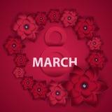 Cartaz mulheres s dia o 8 de março feliz internacional c de cumprimento floral Imagem de Stock