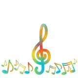 Cartaz musical moderno colorido da bandeira do concerto da música das notas ilustração stock