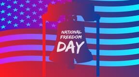 Cartaz na moda do inclinação ou bandeira do dia nacional da liberdade - fevereiro primeiramente com EUA embandeira o fundo Fotos de Stock