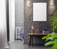Cartaz no interior, do modelo ilustração 3D de um projeto moderno Fotografia de Stock Royalty Free