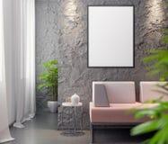 Cartaz no interior, do modelo ilustração 3D de um projeto moderno Imagem de Stock Royalty Free
