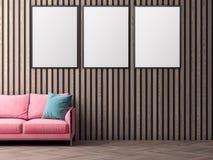 Cartaz no interior, do modelo ilustração 3D de um projeto moderno Fotografia de Stock