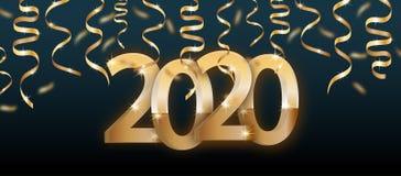 cartaz ou bandeira de 2020 n?meros com as fitas douradas no fundo escuro Elementos din?micos luxuosos do projeto do ano novo feli ilustração stock