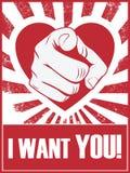 Cartaz ou cartão engraçado do dia de Valentim com mão Fotografia de Stock Royalty Free