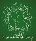 Cartaz para o dia de ambiente de mundo com os animais no estilo da garatuja, ilustração do vetor Fotos de Stock