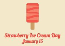 Cartaz para o dia do gelado de morango (15 de janeiro) Imagens de Stock Royalty Free