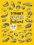 Cartaz para o festival do alimento da rua Fotografia de Stock