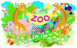 Cartaz para o jardim zoológico Ilustração de dois girafas e de outros animais alegres Fotografia de Stock Royalty Free